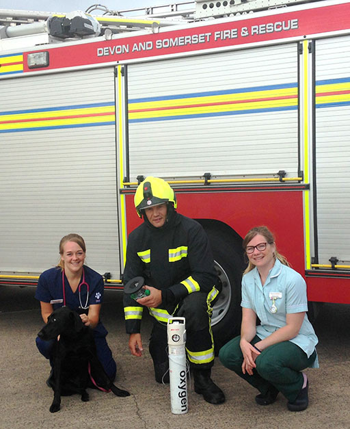 Pet Oxygen Masks donated from Quantock Veterinary Hospital to Bridgwater and Nether Stowey Fire Station