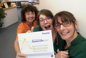Clients nominate Quantock Veterinary Hospital for 'Practice of the Year' Petplan Award